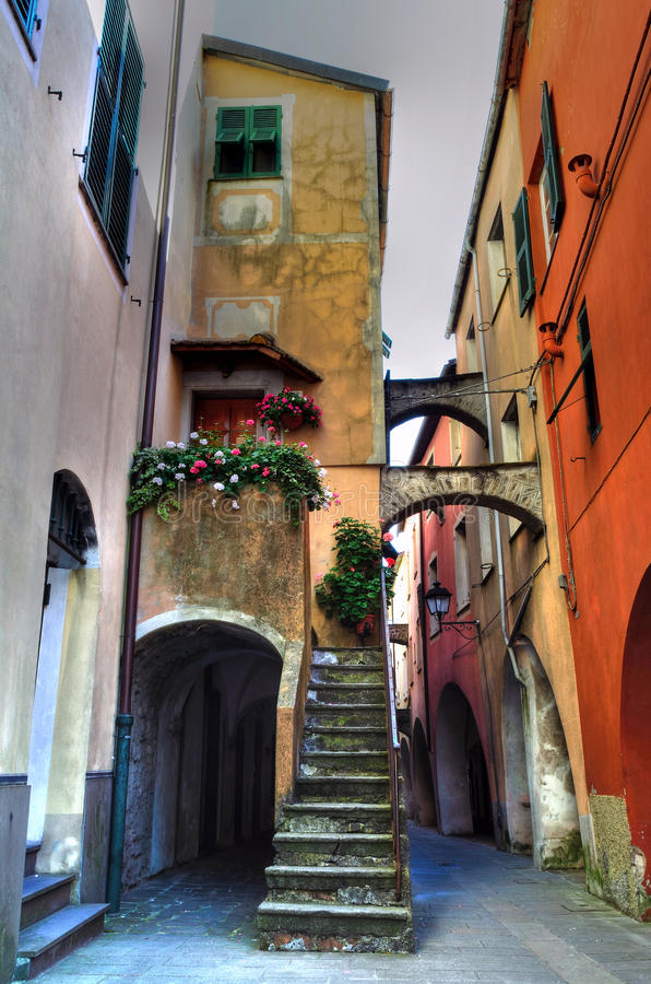 View Varese Ligure, Liguria, Italy. Streets and historic homes in varese ligure,la spezia, liguria, italy classified most beautiful village of Italy and orange royalty free stock photo