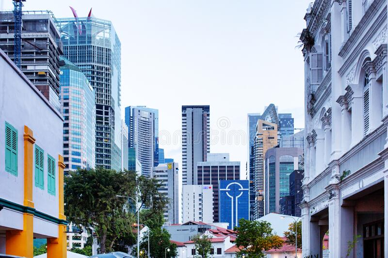 View of various buildings in the downtown district of Singapore stock photo