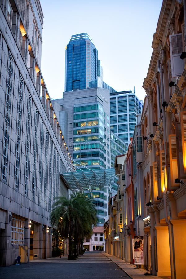 View of various buildings in the downtown district of Singapore royalty free stock images