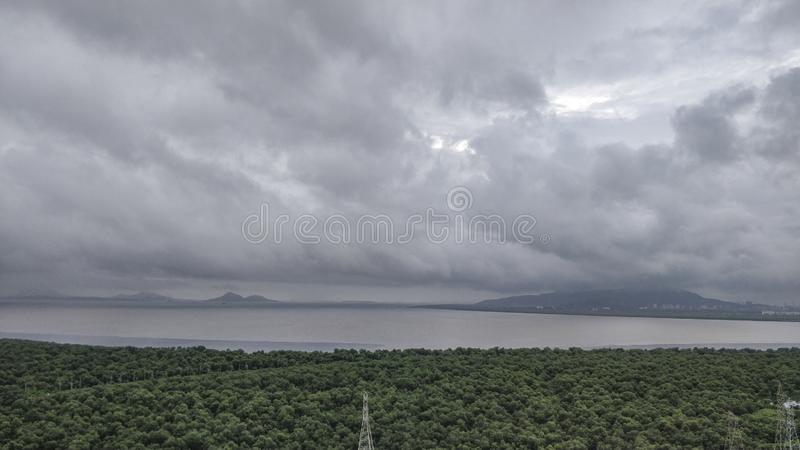 View of vashi creek on a rainy day from vashi,navi Mumbai,Maharashtra,India. Asia royalty free stock photo