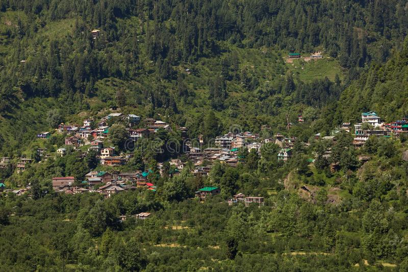 View of Vashisht village and Kullu valley in Himachal Pradesh state. India stock photography