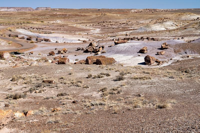 Petrified Forest National Park, small stop of blue sky in the background. stock images