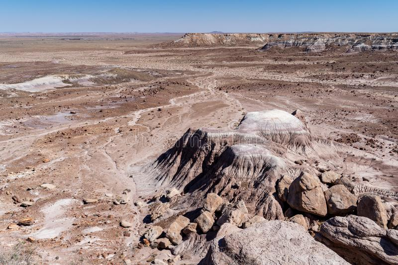 View of the vast arid dry desert of Petrified Forest National Park and the Painted Desert of Arizona in Four Corners area. Room stock photography