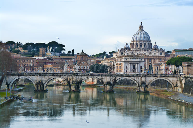 View of the Vatican. With bridges over the Tiber river in Rome, Italy stock images