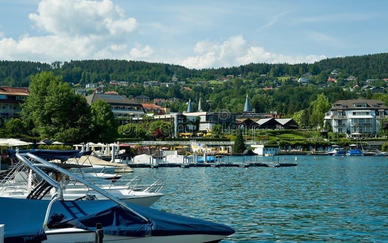 View of Velden. Lake Woerther, Austria stock photos