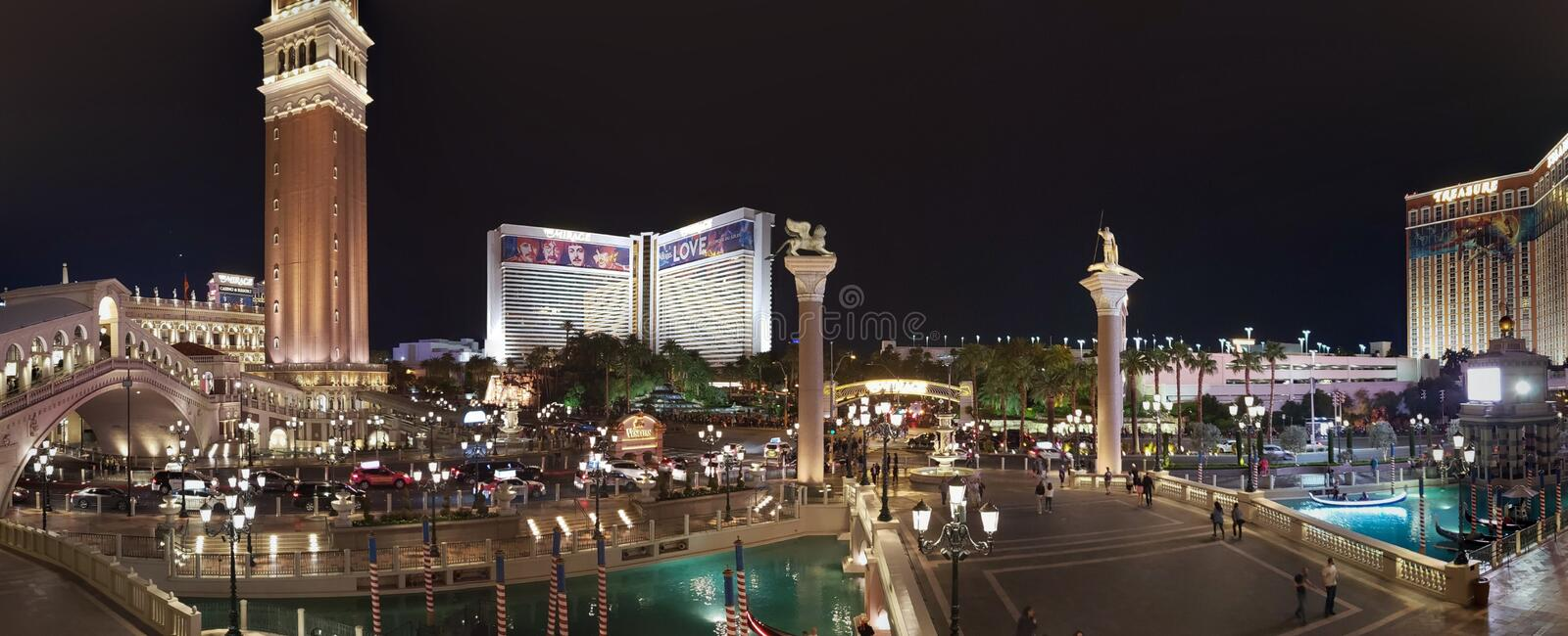 view from the Venetian Hotel in the city of Las Vegas at night stock photo