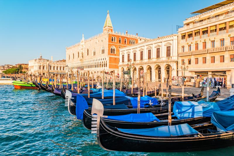 The view of venetian lagoon in morning royalty free stock photo