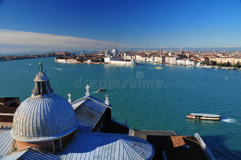 View of Venice from San Giorgio tower royalty free stock image
