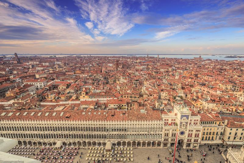 View of Venice from St. Mark`s tower bell stock images