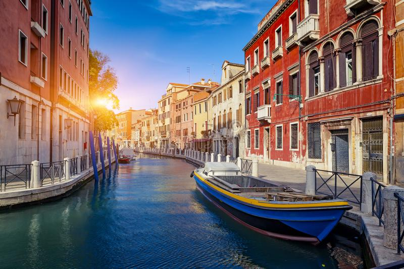 View of The Venice Street And Canal with boats in Venice, Italy. View of The Venice Street And Canal with boats in Venice At Suuny Day, Italy stock image