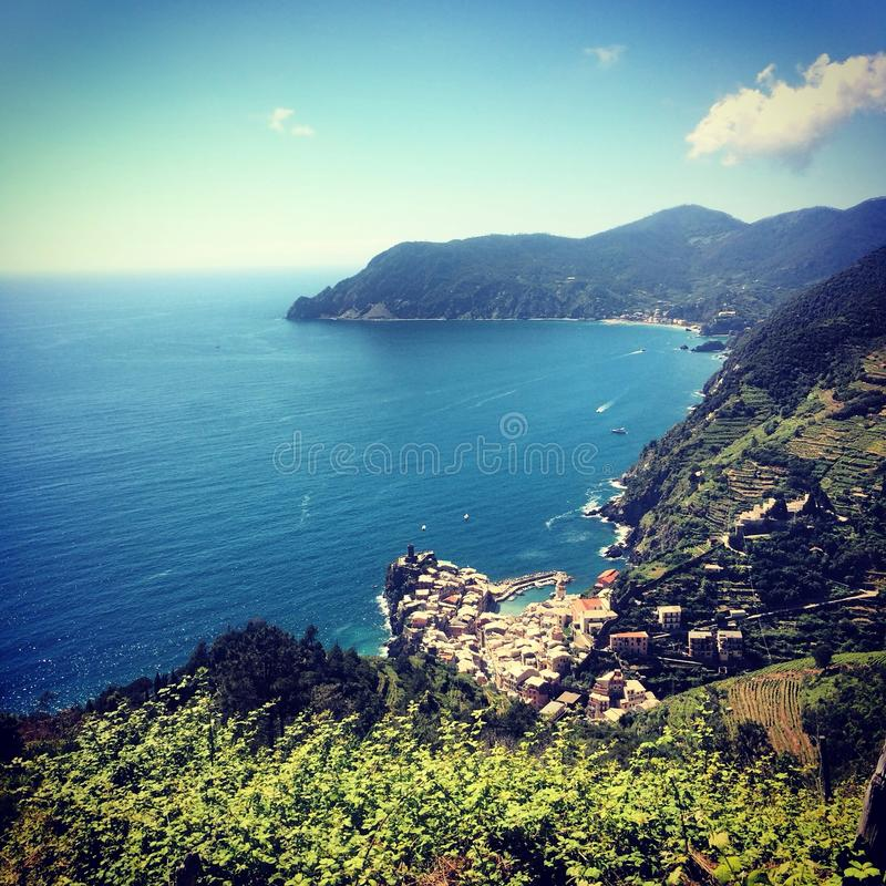 View of Vernazza AND Monterosso al Mare royalty free stock images