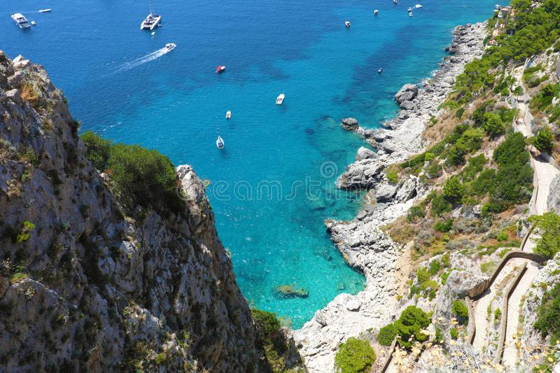 View of Via Krupp from Gardens of Augustus descending to Marina Piccola sea, Capri Island, Italy.  royalty free stock photography