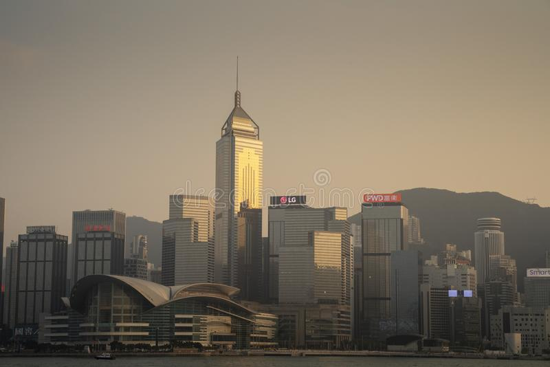 The view of Victoria Harbour stock image