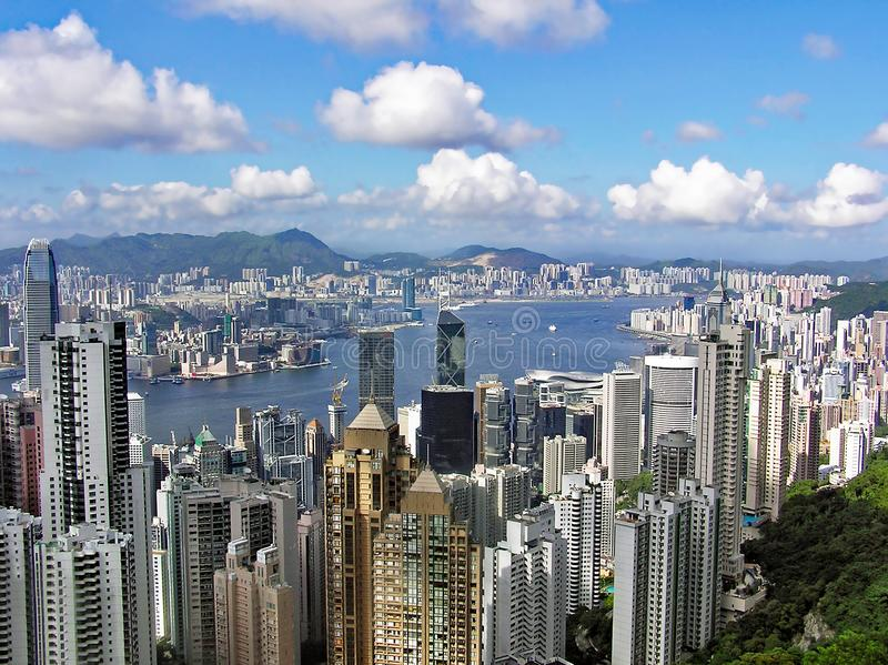View from Victoria Peak over the city of Hong Kong royalty free stock photos