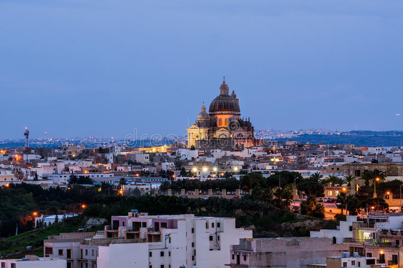 View of Victoria at sunset, Gozo, Malta royalty free stock images