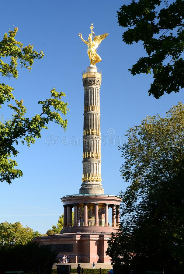 View of Victory Column. Berlin. Germany. Berlin is the capital and largest city of Germany; the Victory Column is a monument to commemorate the Prussian victory royalty free stock image