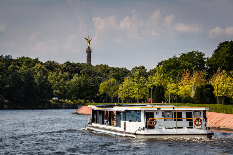 View on Victory Column in Tiergarten Park from Spree River. Berlin, German stock image
