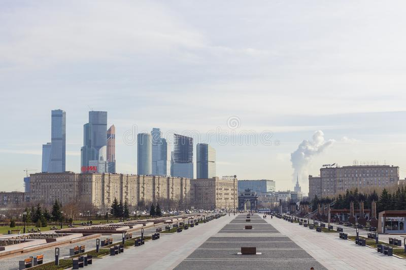 View from Victory Park on Poklonnaya hill to Moscow International Business Centre MIBC royalty free stock images