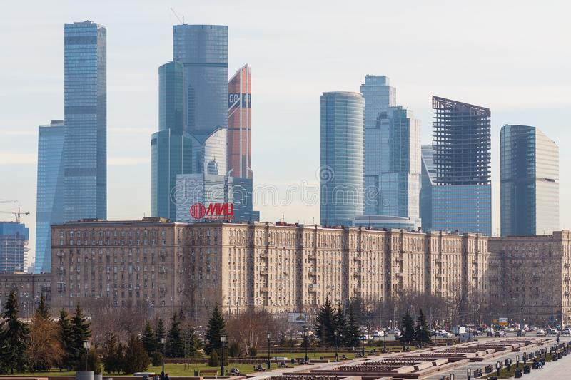 View from Victory Park on Poklonnaya hill to Moscow International Business Centre MIBC stock images