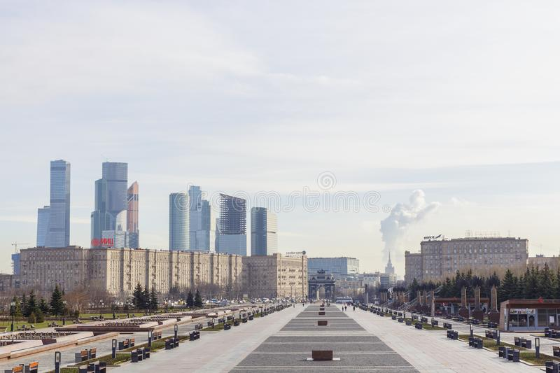 View from Victory Park on Poklonnaya hill to Moscow International Business Centre MIBC stock photography