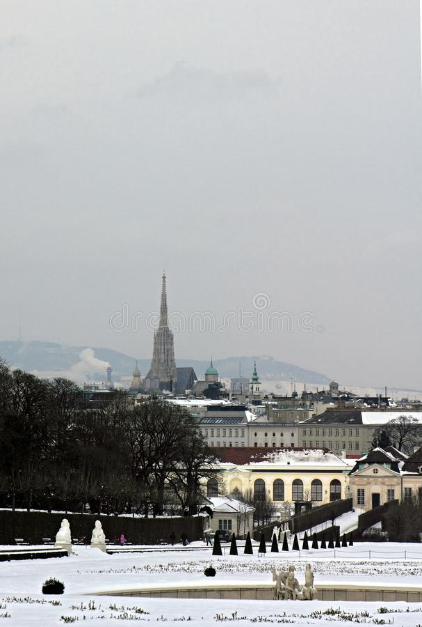 View of Vienna from Belvedere Palace on a winter day stock photo