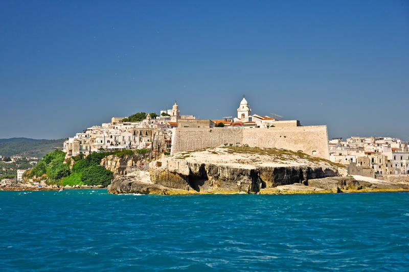 View of Vieste town from sea stock photography