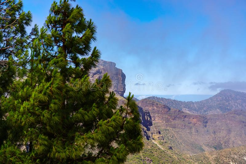 View from Viewpoint Degollada Becerra over the mountains of Gran Canaria royalty free stock images