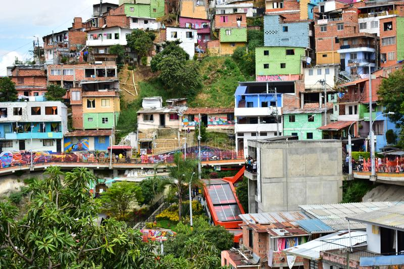 Pointview a electric stairs commune 13 of medellin stock photo