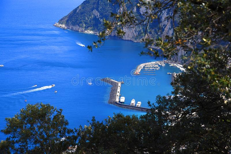View from Villa in Anacapri on the Isle of Capri in the bay of naples Italy. This beautiful island is called the island of Love. It sits in the Bay of Naples and stock photos