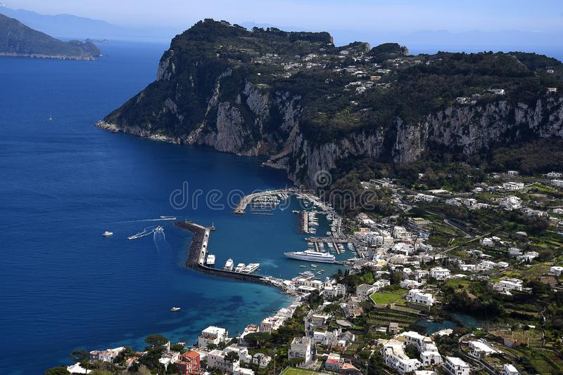 View from Villa in Anacapri on the Isle of Capri in the bay of naples Italy. This beautiful island is called the island of Love. It sits in the Bay of Naples and stock photo