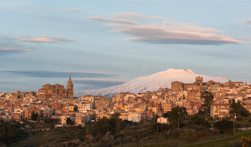 View Of Village On Background Etna royalty free stock photography