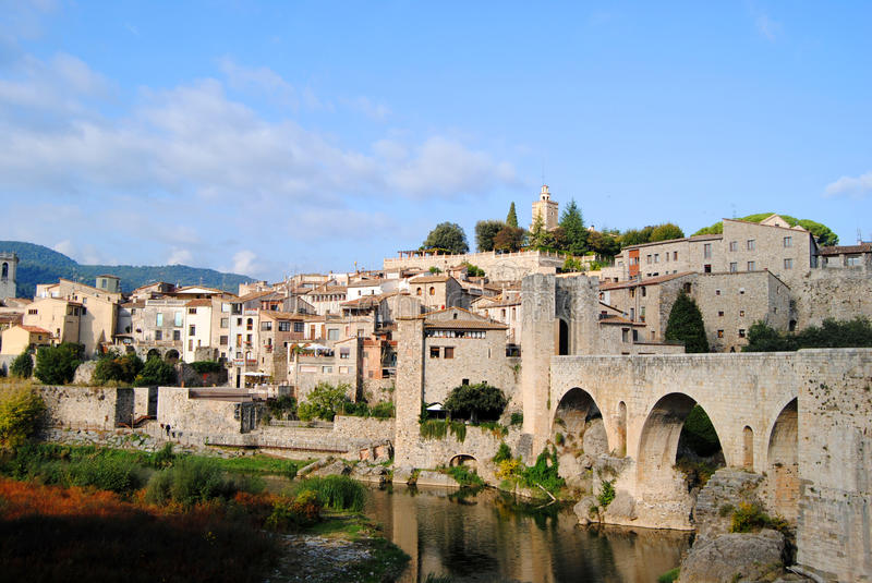 View of the village of Besalu royalty free stock images