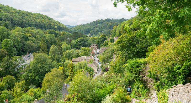 View of the village of Chalford, Stroud, The Cotswolds, Gloucestershire, United Kingdom stock photos