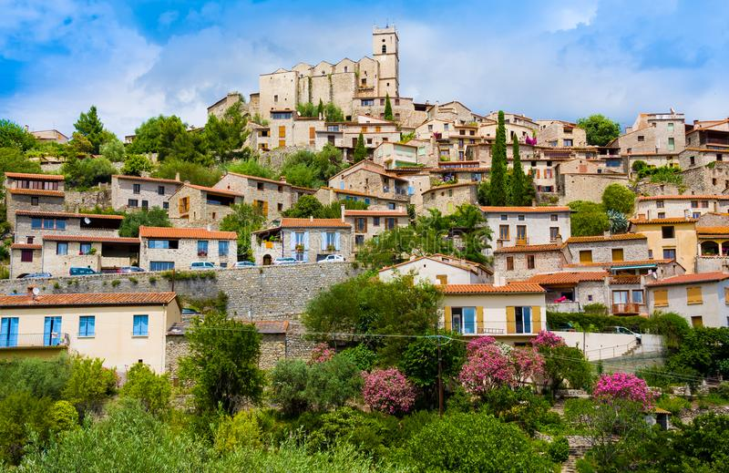 View of village of Eus in Pyrenees-Orientales, Languedoc-Roussillon. Eus is listed as one of the 100 most beautiful villages in Fr. Ance stock image