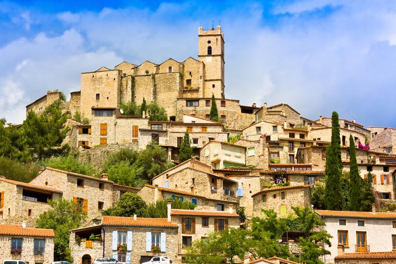 View of the village of Eus in Pyrenees-Orientales, Languedoc-Roussillon. Eus is listed as one of the 100 most beautiful villages stock image