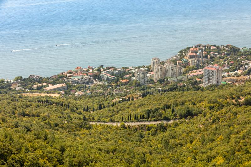 View of the village of Foros and the Black Sea from a height. Crimea. View of the village of Foros and the Black Sea from a height royalty free stock photography
