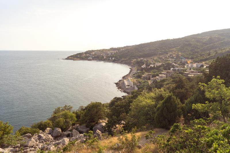 View of the village Katsiveli at sunset. Crimea stock image