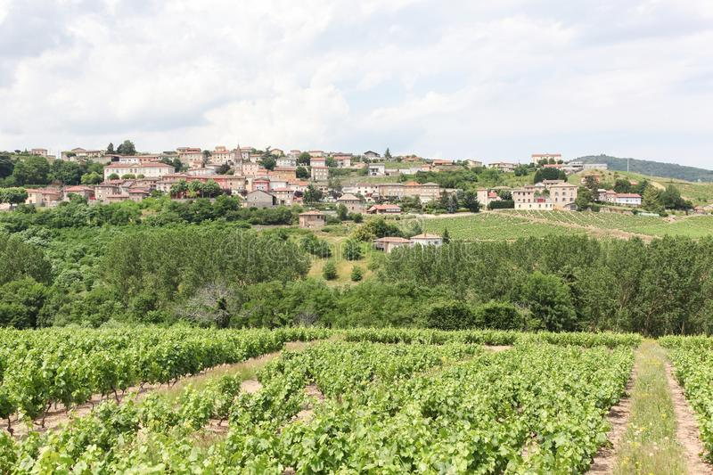 View of the village of Vaux en Beaujolais in Beaujolais. France stock images
