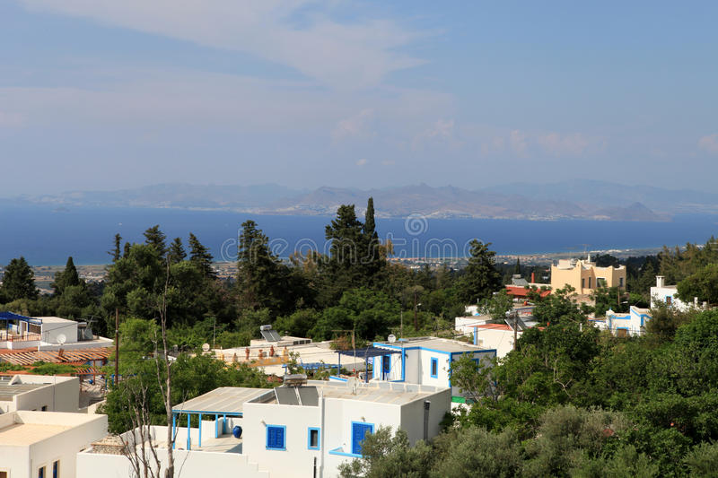 View from the village of Zia in the direction of Tigaki. Kos Island stock photo