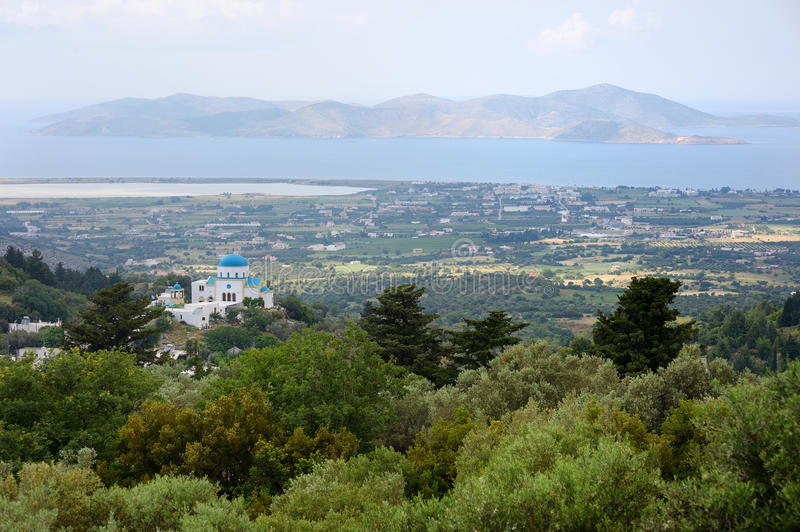 View from the village of Zia. On Kos royalty free stock images