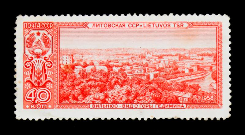 View of Vilnius, Lithuania, Capitals of Socialist Republics of Soviet Union serie, circa 1958. MOSCOW, RUSSIA - JUNE 26, 2017: A stamp printed in USSR Russia stock photography