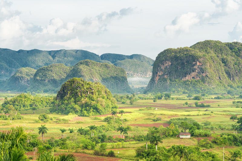 View of the Vinales Valley in Cuba on the early mo stock photography