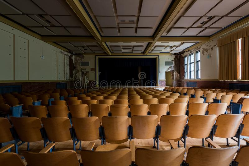 Vintage Auditorium - Abandoned Gladstone School - Pittsburgh, Pennsylvania. A view of a vintage auditorium inside the abandoned Gladstone School in Pittsburgh stock images