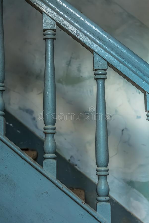 View of vintage gray wooden staircase on abandoned train station royalty free stock photos