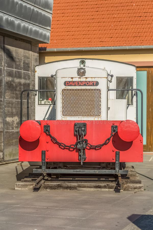 View of a vintage train, exhibited as a piece of art at the Leca da Palmeira Marina, Portugal stock photo