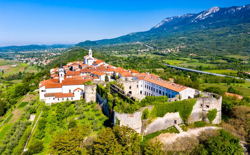 View of Vipavski Kriz town in Slovenia. Aerial view of Vipavski Kriz town in the Littoral region of Slovenia stock photo