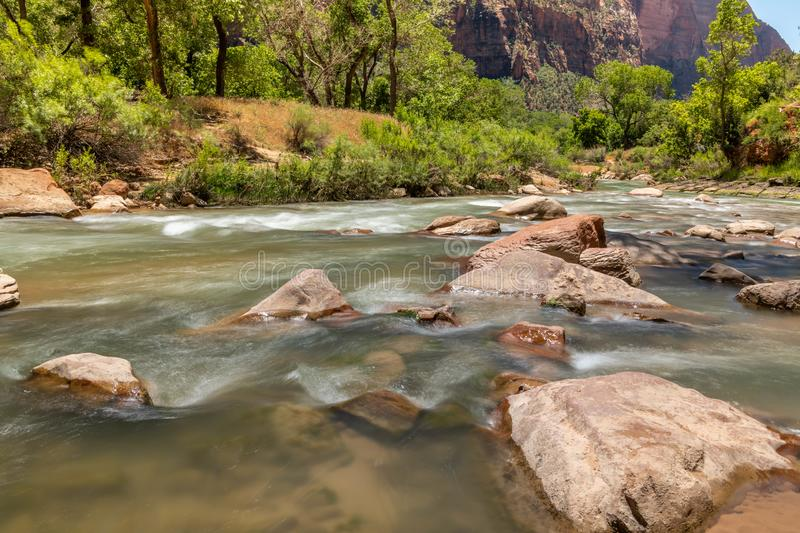View of the Virgin River towards the Narrows location. stock photography