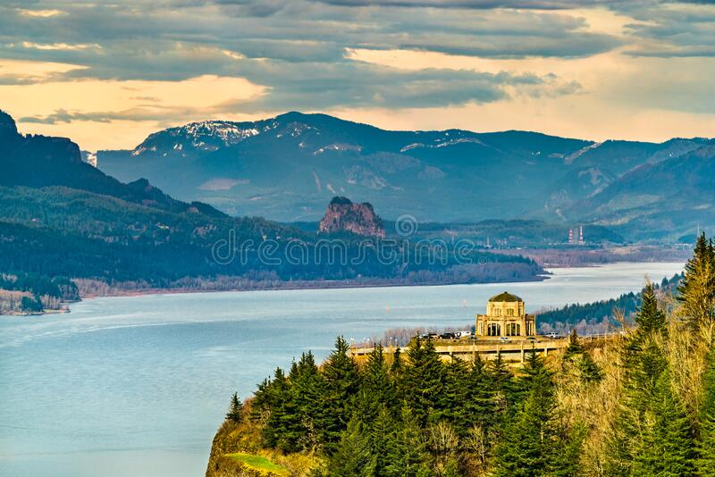 View of Vista House at Crown Point above the Columbia River in Oregon. View of Vista House at Crown Point above the Columbia River Gorge in Oregon, United States stock photography