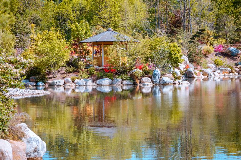 View of the vistas at the Japanese gardens in Grand Rapids Michigan royalty free stock photo