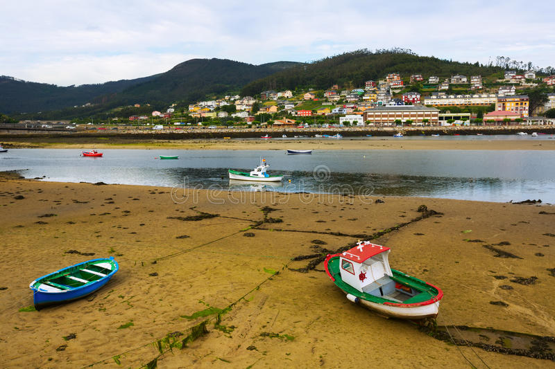 View of Viveiro with river and boats. Galicia, Spain royalty free stock image